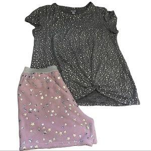 Girl's Sleepwear Set twist top fleece shorts XL